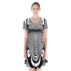 Black And White Ornamental Flower Short Sleeve V Neck Flare Dress