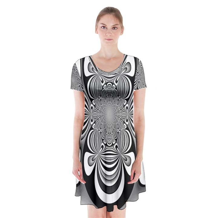 Black And White Ornamental Flower Short Sleeve V-neck Flare Dress