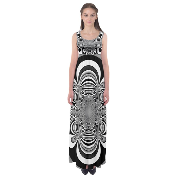 Black And White Ornamental Flower Empire Waist Maxi Dress
