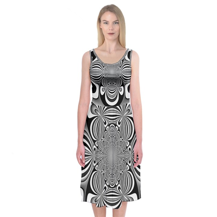 Black And White Ornamental Flower Midi Sleeveless Dress