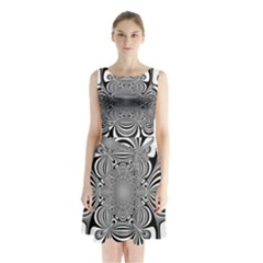 Black And White Ornamental Flower Sleeveless Chiffon Waist Tie Dress