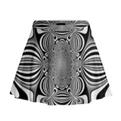 Black And White Ornamental Flower Mini Flare Skirt