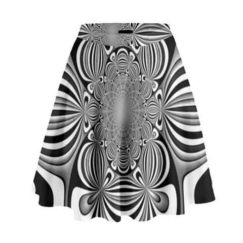 Black And White Ornamental Flower High Waist Skirt