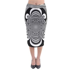 Black And White Ornamental Flower Midi Pencil Skirt