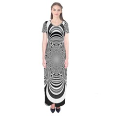 Black And White Ornamental Flower Short Sleeve Maxi Dress