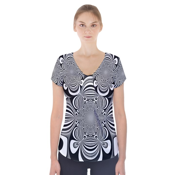 Black And White Ornamental Flower Short Sleeve Front Detail Top