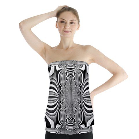 Black And White Ornamental Flower Strapless Top