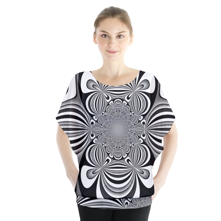 Black And White Ornamental Flower Blouse