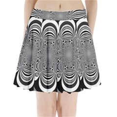 Black And White Ornamental Flower Pleated Mini Skirt