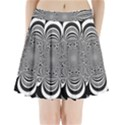 Black And White Ornamental Flower Pleated Mini Skirt View1