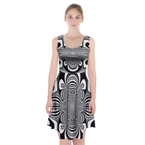 Black And White Ornamental Flower Racerback Midi Dress