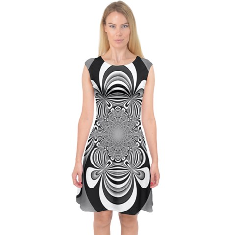 Black And White Ornamental Flower Capsleeve Midi Dress
