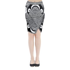 Black And White Ornamental Flower Midi Wrap Pencil Skirt