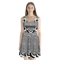 Black And White Ornamental Flower Split Back Mini Dress