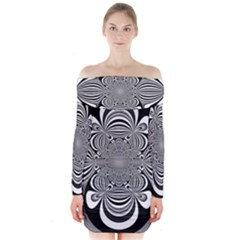 Black And White Ornamental Flower Long Sleeve Off Shoulder Dress