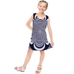 Black And White Ornamental Flower Kids  Tunic Dress