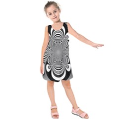 Black And White Ornamental Flower Kids  Sleeveless Dress