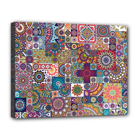 Ornamental Mosaic Background Canvas 14  X 11