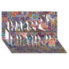 Ornamental Mosaic Background Happy Birthday 3D Greeting Card (8x4)