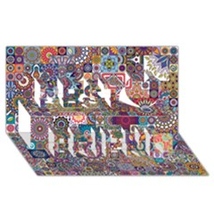 Ornamental Mosaic Background Best Friends 3D Greeting Card (8x4)