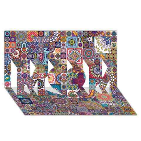 Ornamental Mosaic Background MOM 3D Greeting Card (8x4)
