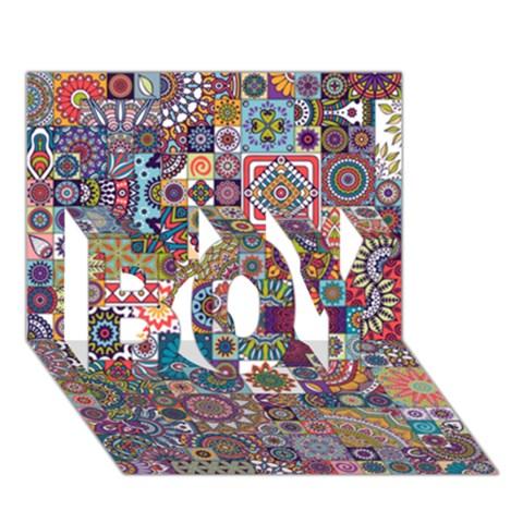 Ornamental Mosaic Background BOY 3D Greeting Card (7x5)