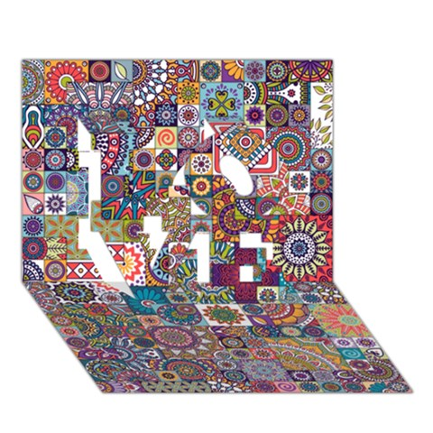 Ornamental Mosaic Background LOVE 3D Greeting Card (7x5)