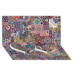 Ornamental Mosaic Background Twin Heart Bottom 3d Greeting Card (8x4)