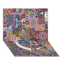 Ornamental Mosaic Background Circle Bottom 3d Greeting Card (7x5)