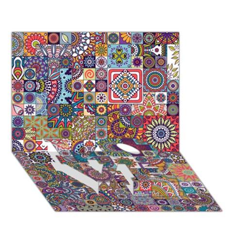 Ornamental Mosaic Background LOVE Bottom 3D Greeting Card (7x5)