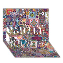 Ornamental Mosaic Background YOU ARE INVITED 3D Greeting Card (7x5)