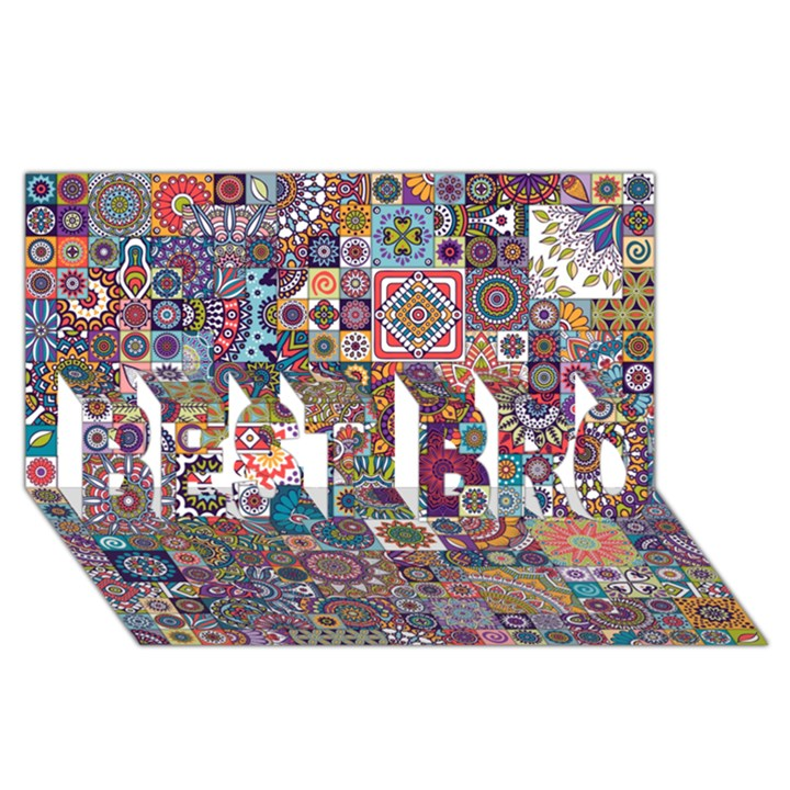 Ornamental Mosaic Background BEST BRO 3D Greeting Card (8x4)