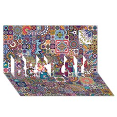 Ornamental Mosaic Background Best Sis 3d Greeting Card (8x4)