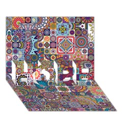 Ornamental Mosaic Background Hope 3d Greeting Card (7x5)