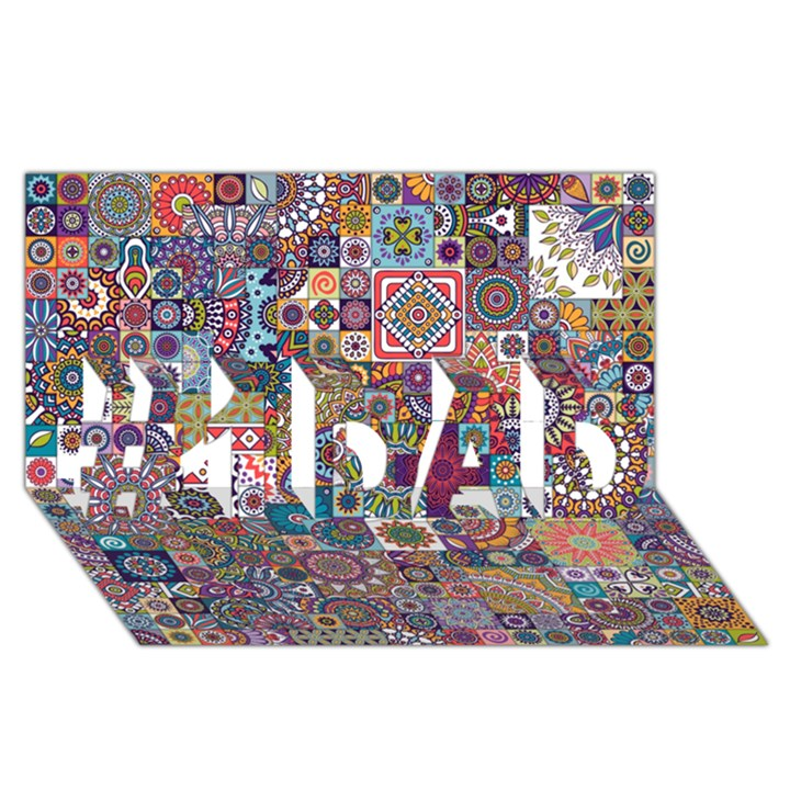Ornamental Mosaic Background #1 DAD 3D Greeting Card (8x4)