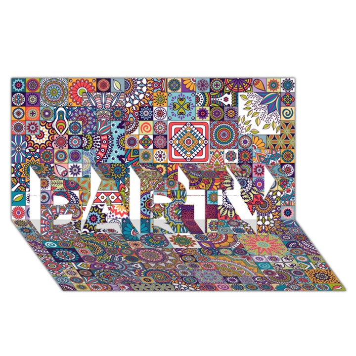 Ornamental Mosaic Background PARTY 3D Greeting Card (8x4)