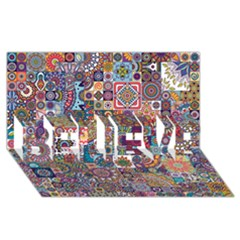 Ornamental Mosaic Background BELIEVE 3D Greeting Card (8x4)