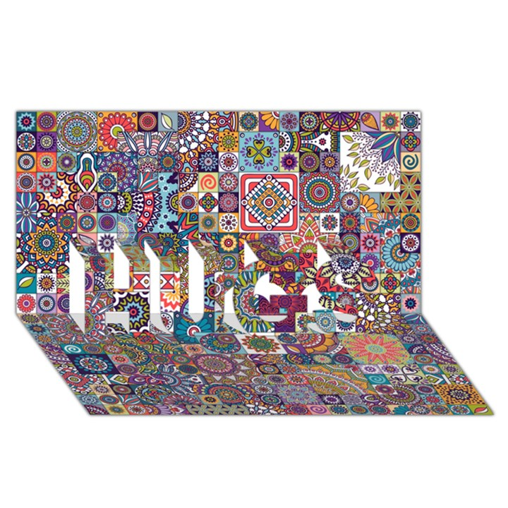 Ornamental Mosaic Background HUGS 3D Greeting Card (8x4)