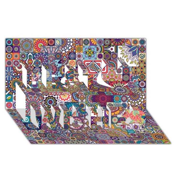 Ornamental Mosaic Background Best Wish 3D Greeting Card (8x4)