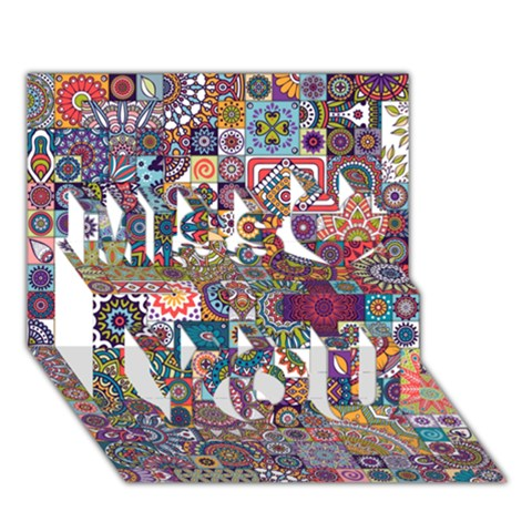 Ornamental Mosaic Background Miss You 3D Greeting Card (7x5)