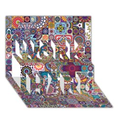 Ornamental Mosaic Background WORK HARD 3D Greeting Card (7x5)