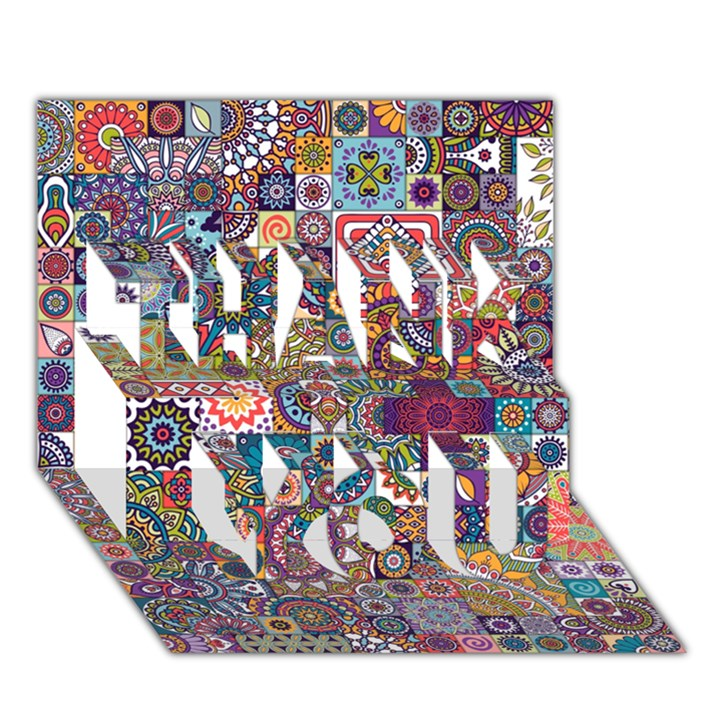 Ornamental Mosaic Background THANK YOU 3D Greeting Card (7x5)