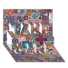 Ornamental Mosaic Background TAKE CARE 3D Greeting Card (7x5)
