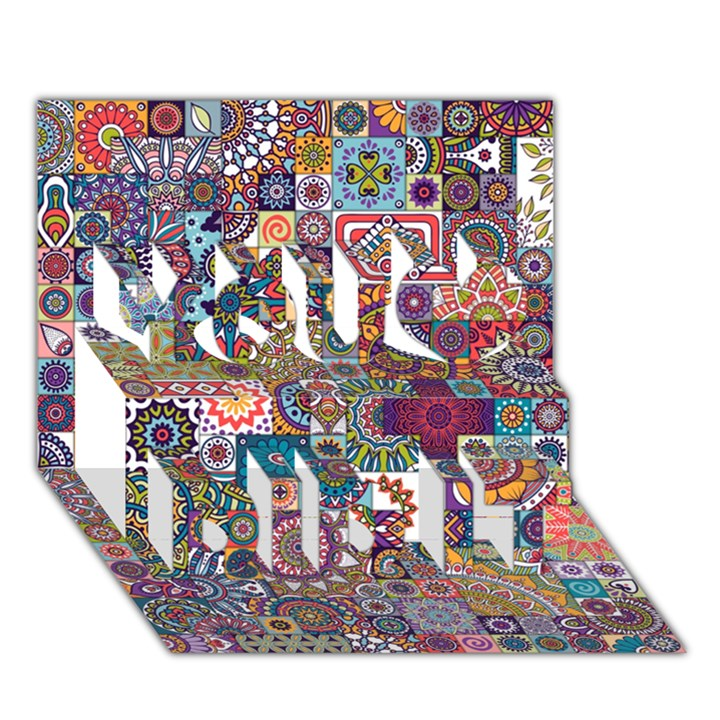Ornamental Mosaic Background You Did It 3D Greeting Card (7x5)