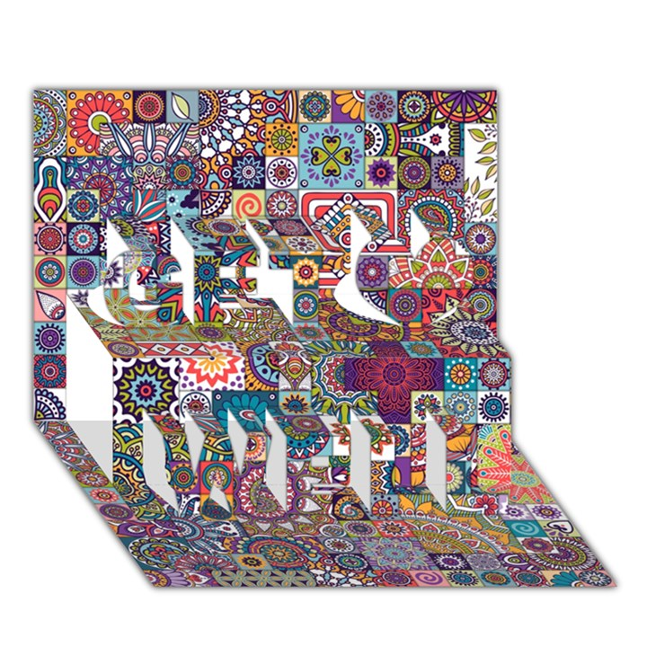 Ornamental Mosaic Background Get Well 3D Greeting Card (7x5)