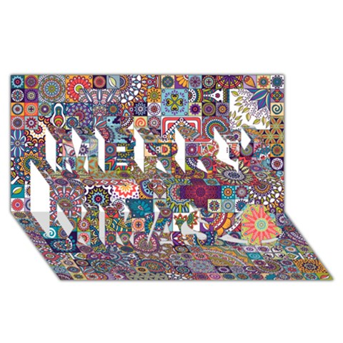 Ornamental Mosaic Background Merry Xmas 3D Greeting Card (8x4)