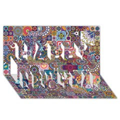 Ornamental Mosaic Background Happy New Year 3D Greeting Card (8x4)