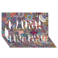 Ornamental Mosaic Background Laugh Live Love 3D Greeting Card (8x4)