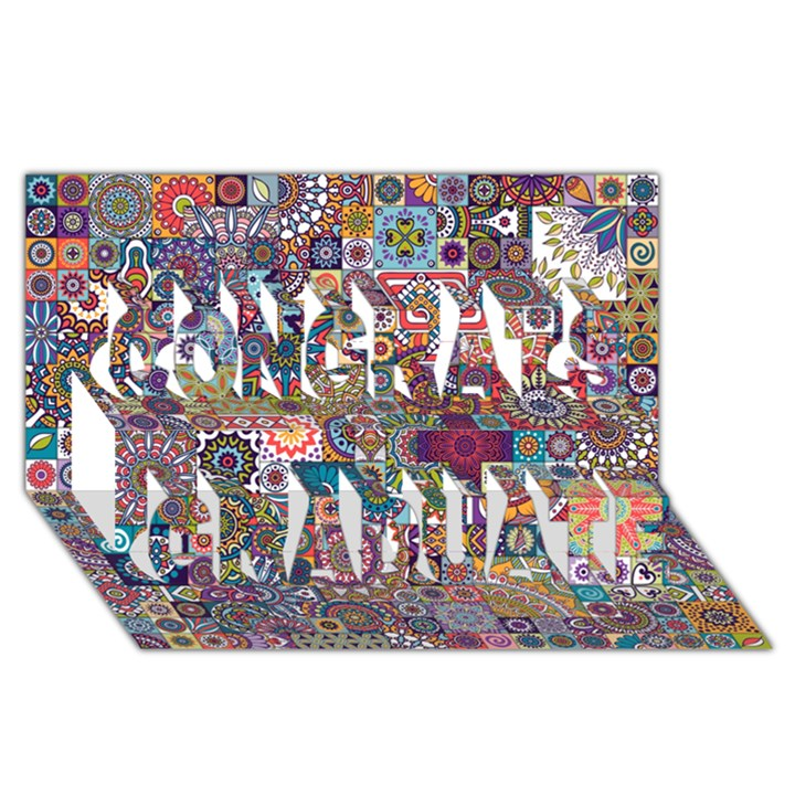 Ornamental Mosaic Background Congrats Graduate 3D Greeting Card (8x4)
