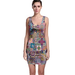 Ornamental Mosaic Background Sleeveless Bodycon Dress